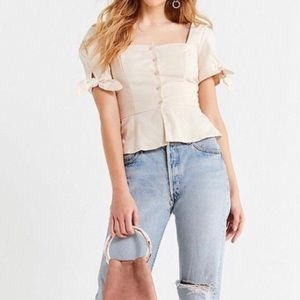 UO square neck button down linen blouse, size med